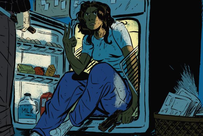women in fridge