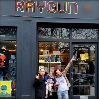 Nevs (right) outside Raygun East with Garry Vanderhorne, who runs Lucha Britannia.